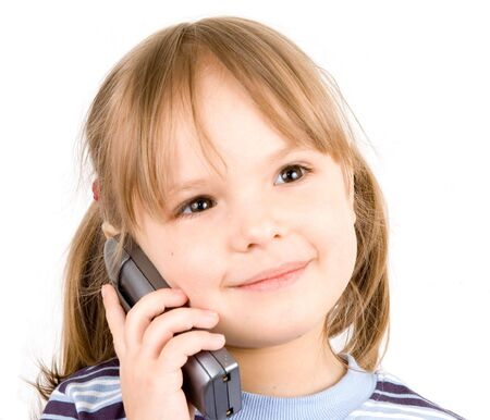 child with telephone Stock Photo