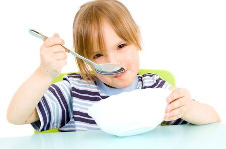 Child eat soup Stock Photo
