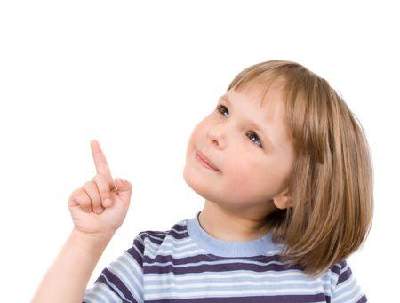 little girl shows finger photo