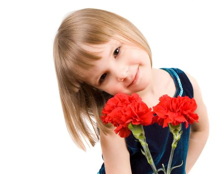 little girl with a bouquet of carnations photo