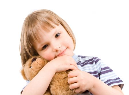 little girl with toy photo