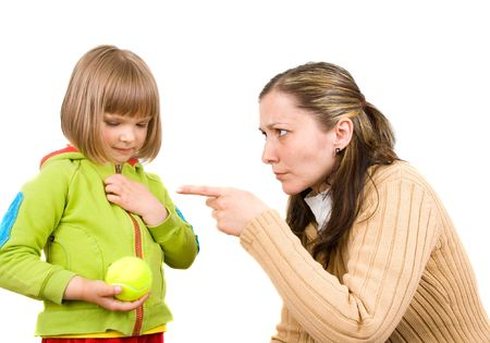 punish: Mother and little daughter Stock Photo