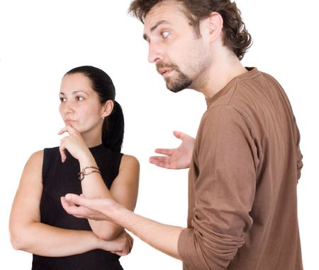 nagging: Wife and husband yelling to each other