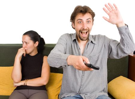 Wife and husband yelling to each other Stock Photo - 5285067