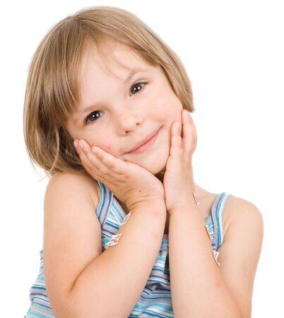 little girl isolated on white Stock Photo - 5328725