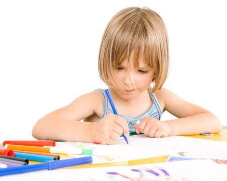 child draws Stock Photo - 5409728