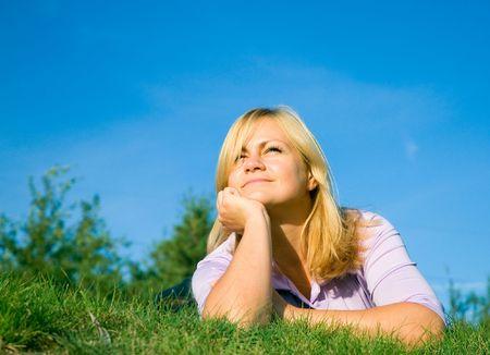 woman on grass photo
