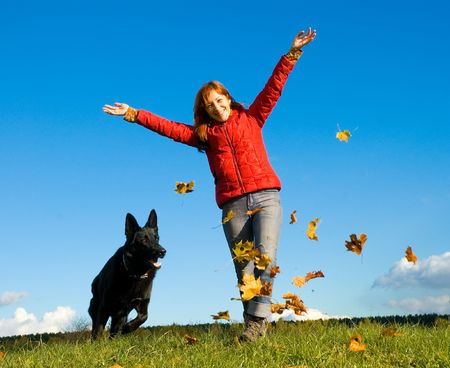 woman with dog photo