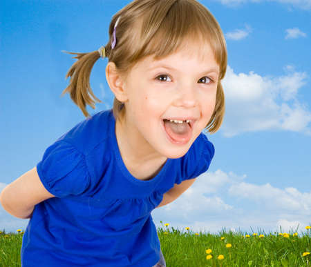 child on the meadow photo