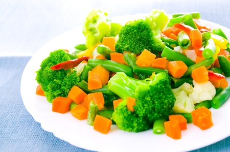 Mixed vegetables on a plate photo