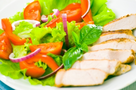 meat with vegetable salad Stock Photo - 18384749