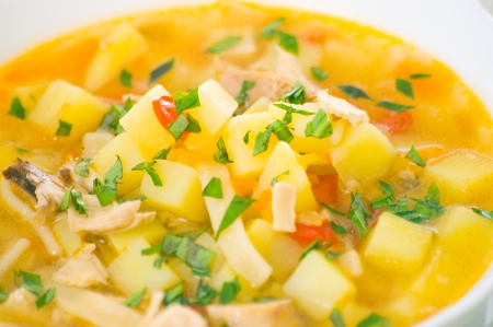 chicken noodle soup: chicken soup with noodle and vegetables