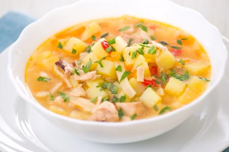 minestrone: chicken soup with noodle and vegetables