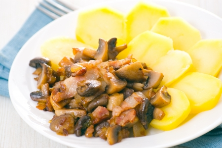 mushrooms and bacon with potatoes photo