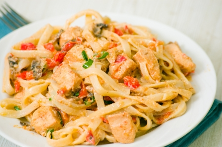 chicken breast with vegetables and mushrooms in a creamy sauce with pasta