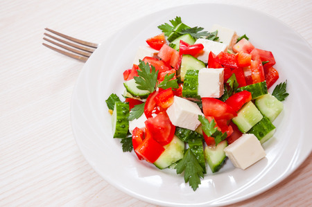 vegetable salad: fresh vegetable salad with cheese Stock Photo