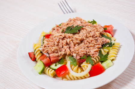 canned meat: pasta salad with tuna and vegetables
