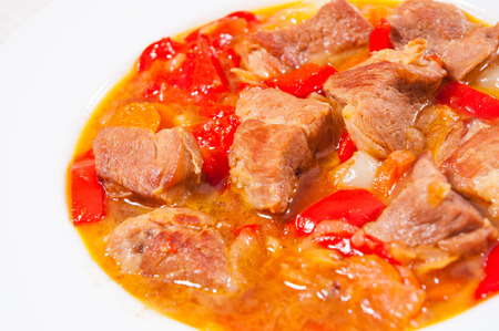 stewed: stewed meat with vegetables Stock Photo
