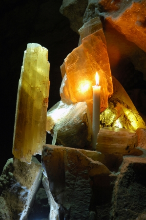 limpid: Cave gypsum plate and candle