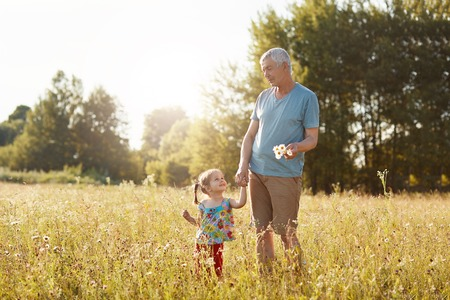 Outoor view of handsome mature grandfather keeps hand of his small granddaughter, looks at each other with joyful expressions, stroll across green grass, pick up camomiles. People, lifestyle concept
