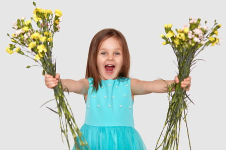 Horizontal shot of pleased small child holds two bouquets of flowers, opens mouth opened, exclaims with happiness, wears blue dress, isolated over white background. Look at my beautiful flowers!