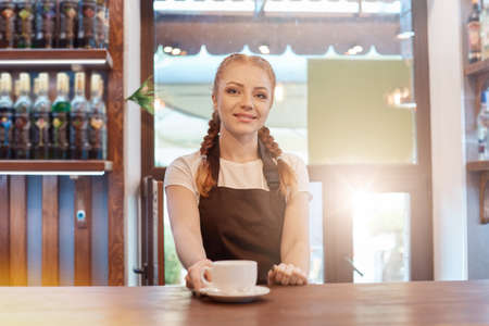 Beautiful Caucasian rad haired lady looks smiling at camera offers hot coffee at modern coffee shop, barista posing near counter, wearing white t shirt and apron.