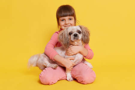 European little girl carrying her pekingese dog and looking directly at camera and smiling, toddler dresses rose clothes embracing her pet with love, sitting on floor isolated over yellow background.