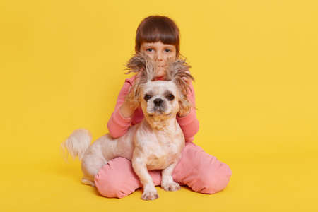 Charming girl and puppy against yellow wall, female looking at camera, pulling puppy's ears up and covering her cheeks with it, kid sitting on floor, wearing casual clothing.