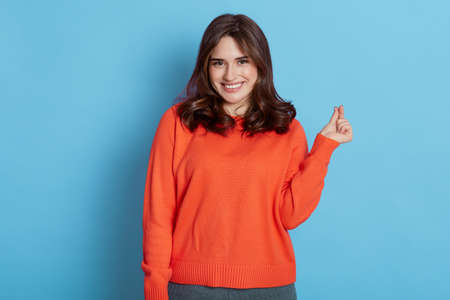 Pretty dark haired woman with pleasant smile makes korean like sign expresses love, wears casual jumper isolated over blue background. Mini heart gesture. Body language. Stockfoto