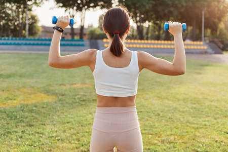 Back view of dark haired female with sporty body holding dumbbells and doing exercises on stadium, training biceps and triceps, outdoor activity, healthy lifestyle. 免版税图像