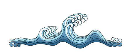 Vague bleue du Japon. Illustration d'art de vecteur de style oriental japonais. Vague de vecteur Japon isolé sur fond blanc. Contour de style linéaire. Vague bleue océan asiatique et chinoise.