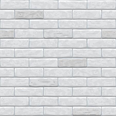 Brick wall gray seamless pattern background. Square old seamless grey brick texture background. Gray, light cartoon brick wall vector texture pattern illustration.