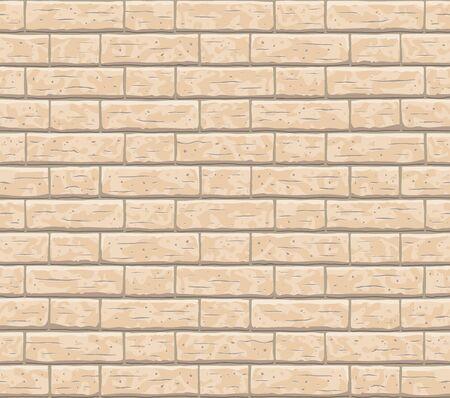 Brick wall seamless pattern background. Old seamless brown brick texture background. Beige, light cartoon interior brick wall vector texture pattern illustration.