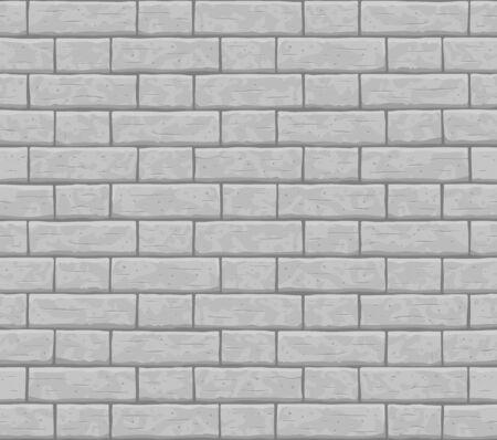Brick wall seamless pattern background. Gray, light cartoon brick wall vector texture pattern illustration. Horizontal old seamless grey brick texture background. Vettoriali