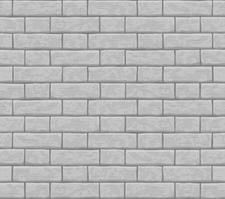 Brick wall seamless pattern background. Gray, light cartoon brick wall vector texture pattern illustration. Horizontal old seamless grey brick texture background.