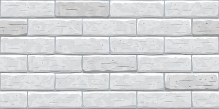 Brick grey wall seamless pattern background. Gray, white, light brick wall vector texture pattern illustration. Horizontal seamless grey brick texture background. Vector Illustration