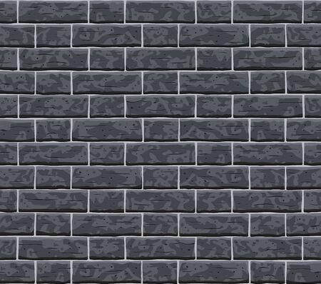 Brick dark grey wall seamless pattern background. Gray, black brick wall vector texture pattern illustration. Horizontal seamless black brick texture background.