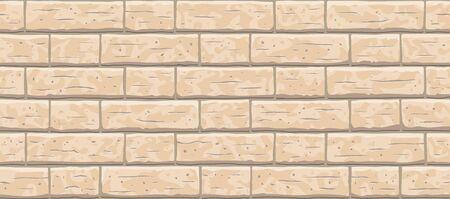 Brick wall seamless pattern background. Horizontal seamless brown brick texture background. Beige, light cartoon interior brick wall vector texture pattern illustration. Vector Illustration