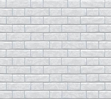 Brick wall seamless pattern background. Gray, light cartoon brick wall vector texture pattern illustration. Horizontal old seamless grey brick texture background.