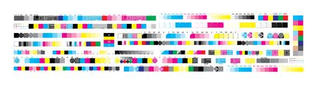 CMYK print test control scales. Vector set color bar CMYK and test chart offset. Print control strips color cmyk for prepress and print.