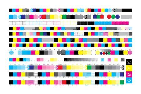 CMYK print test control scales. Vector set color bar CMYK and test chart offset. Print control strips color cmyk for prepress and print. Ilustración de vector