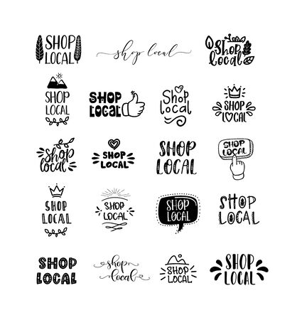 LOCAL SHOP set of hand drawn doodles badges, logo, icons. Handwritten modern vector brush lettering typography and calligraphy text - shop local on a white background. Small shop, local business.