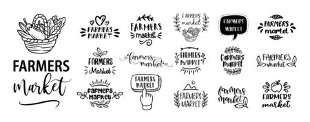 FARMERS MARKET set of hand drawn doodles badges, logo, icon, label. Farm market natural organic product brand sign symbol. Vector brush lettering typography - farmers market on a white background.