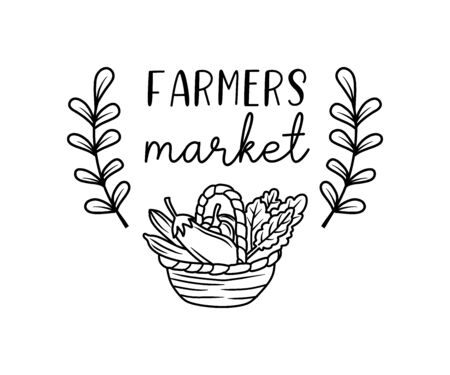 Farmers market hand drawn doodles badges, logo, icon, label. Vector brush lettering typography - farmers market on a white background. Farm market natural organic product brand sign symbol.