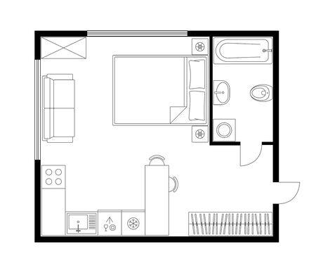 Architecture plan apartment set, studio, condominium, flat, house. One bedroom apartment. Interior design elements kitchen, bedroom, bathroom with furniture. Vector architecture plan. Top view.