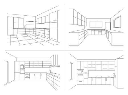 KITCHEN INTERIOR SKETCHES. Line vector illustration of modern kitchen with furniture. Perspective sketch draw plan interior. Modular kitchen system on white background.