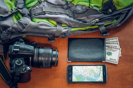 camera phone: Tourist set: money, camera, phone and bag