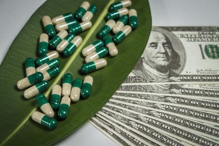 Pile of capsules on green leaf near dollars