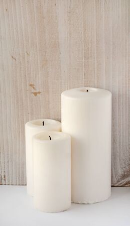 thick: Thick white candles Stock Photo