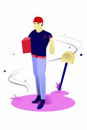 People send packages, Character delivery vectordelivery, character, cartoon, illustration, man, vector, courier, box, isolated, service, male, person, package, design, flat, job, parcel, set, business  イラスト・ベクター素材